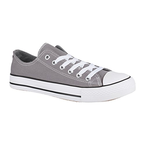 Elara Unisex Sneaker | Bequeme Sportschuhe für Damen und Herren | Low top Turnschuh Textil Schuhe 01-A-XG200 Gun-37
