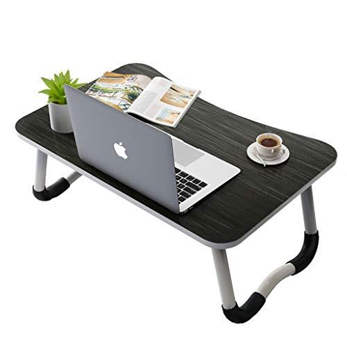 NJ Table Pliante- Bureau d'ordinateur Portable Pliable Noir, Bureau à la Maison de Chambre à Coucher (Couleur : Noir, Taille : 60x40x28cm)