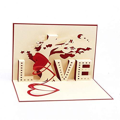 Boomder 3 STÜCKE Liebesskulptur 3D Karte Dreidimensionale Handmade DIY Segen Grußkarte Papier-Schnitt Karten Kreative Poster Drucke