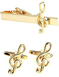 Gold coloured Treble Clef cufflinks and tie clip