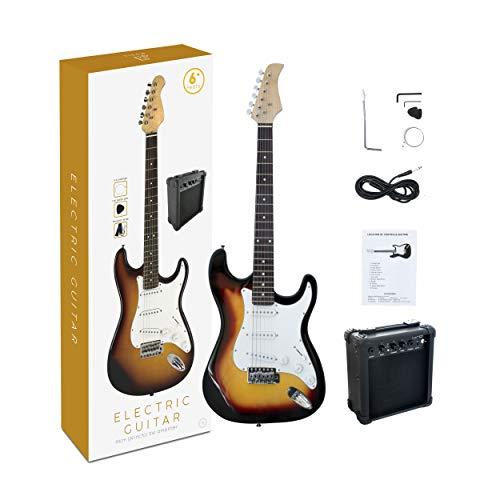 Chitarra elettrica full-size da 39 pollici con microfono SKY ST Sunbrust con amplificatore da 5W, cinturino, corda, cavo e plettro