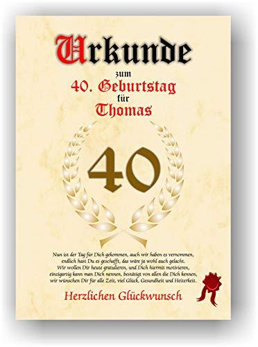Urkunde zum 40. Geburtstag - Glückwunsch Geschenkurkunde personalisiertes Geschenk Gedicht Grußkarte Geschenkidee mit Spruch DIN A4