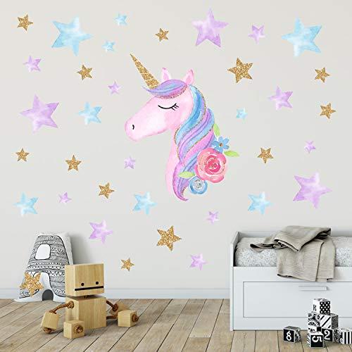 MAFENT Einhorn Wand Aufkleber Regenbogenfarben Wandtattoo Spiegelnde Wand Aufkleber Für Mädchen Schlafzimmer Spielzimmer Dekoration (Rosa Einhorn,Star)