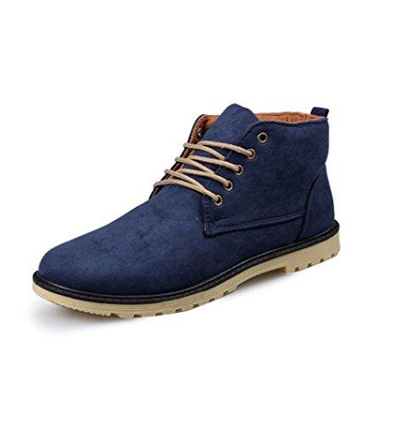 Heart&M alta-taglio casual maschile tenere caldo camoscio cuoio/Martin scarpe stivali Blue