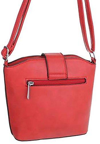 borsa secchiello chiusura clip alt:20cm lun:25cm larg:8cm tracolla 30-50cm Rosso