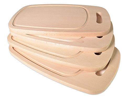 Brettchen Holzbrettchen -K&B Vertrieb- Essbrettchen Frühstücksbrettchen Buche natur Massiv Holz Schneidbrettchen mit Saftrinne 473 (4 Stück)