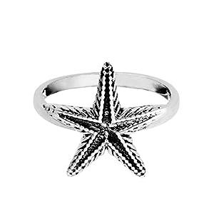81stgeneration Frauen .925 Sterling Silber Strukturiert Detailliert Seestern Star Ring