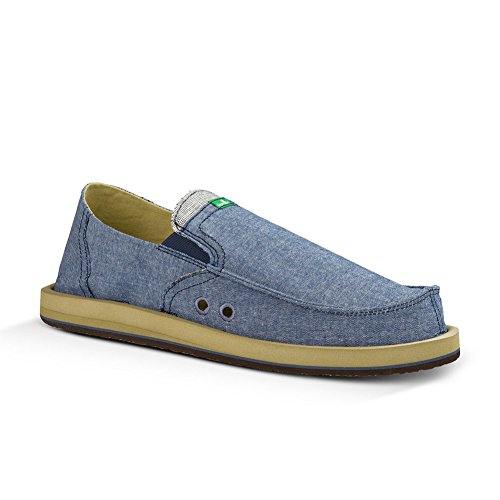 Sanuk Mens Pick Pocket TX Slip On Blue Chambray