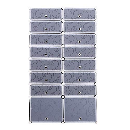 HOMCOM Armario Modular Estantería por Módulos Montaje en Bricolaje Armario Extraíble de 16 Cubos con Puertas para Almacenamiento de Zapatos Ropa Libros 95x37x160cm Blanco y Negro