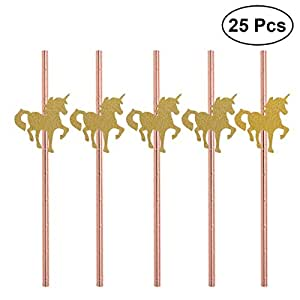 50 Stück Glitter Einhorn Streifen Papier Trinkhalme Kinder Party Dekoration