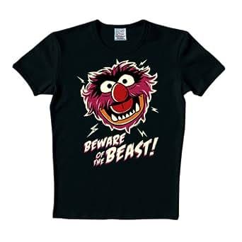 Logoshirt Unisex T-Shirts  Muppets Beware of the beast, Rundkragen ,Logo  - Schwarz - Schwarz - XS (Herstellergröße: XS)