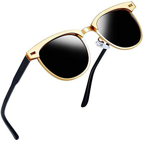 Joopin Semi Rimless Polarisierte Sonnenbrillen Frauen Retro Brand Sun Glasses(Gold Metal Frame)