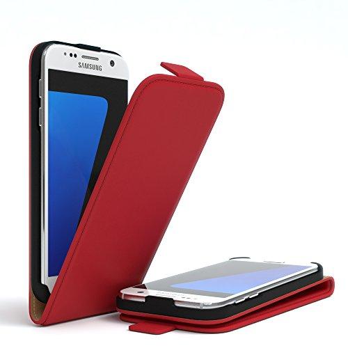 Samsung Galaxy S7 Hülle - EAZY CASE Premium Flip Case Handyhülle - Schutzhülle aus Leder zum Aufklappen in Anthrazit Rot