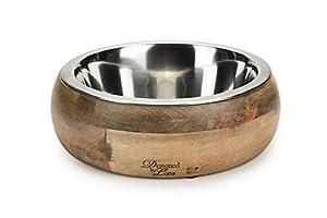 Élégante Gamelle pour chien en bois avec intérieur en acier inoxydable Gamelle