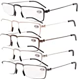 Eyekepper 5 Pairs Valupac Reading Glasses(Include Gunmetal,Silver,Black,Gold,Brown) +2.00