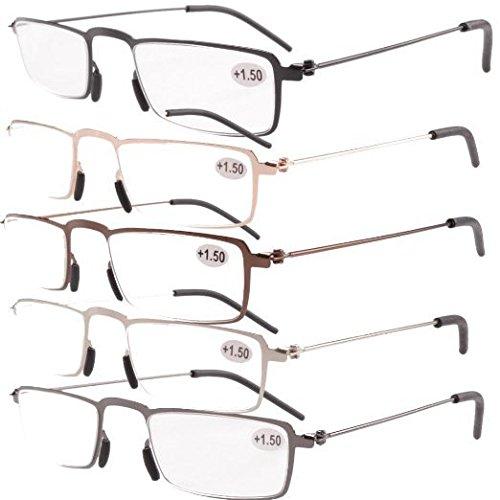 Eyekepper 5 Paia Occhiali da Lettura Presbiopia in Metallo Resistente Uomo Donna Occhiali da Vista Rettangolare Colori Misti (uno per ogni colore) Diottria +1.75