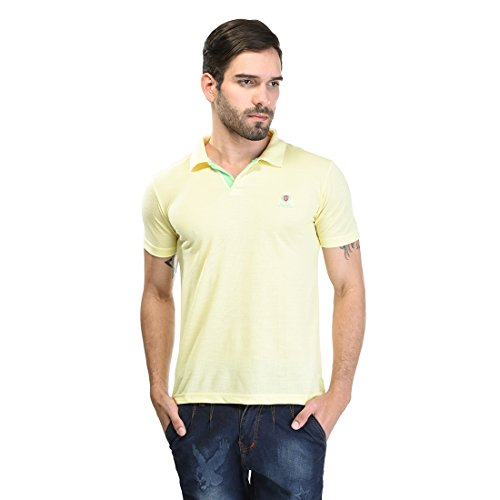 Duke Stardust Casual T-Shirt for Men Polo Collar Cotton Blend Material Half Sleeves Lemon color Smart Fit  available at amazon for Rs.335