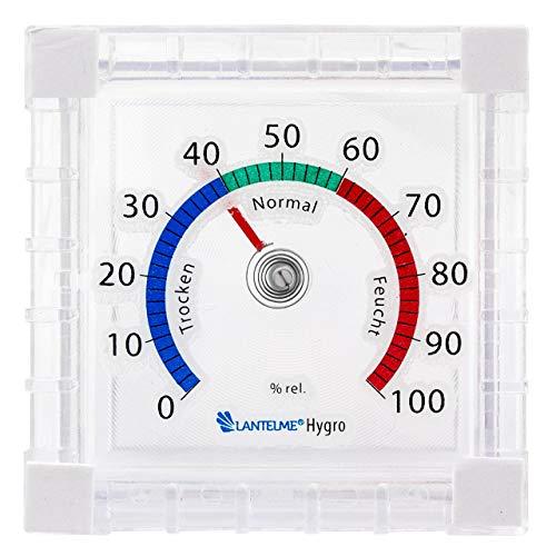 Lantelme Fenster Hygrometer Batterielos Selbstklebend Analog leicht fluoreszierend zum Ankleben Luftfeuchteanzeige 7740