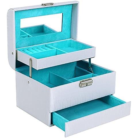 Songmics Caja joyero Estuche para joyas 3 niveles con espejo 20,5 x 15,5 x 14 cm JBC134W
