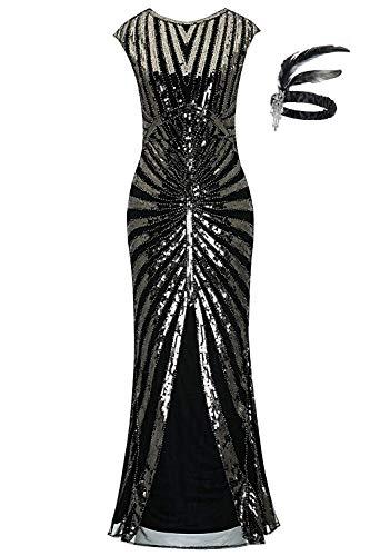 1920er Jahre Pailletten Meerjungfrau Formale Lange Flapper Kleid große Gatsby Party Abendkleid (L (EU 40-42), schwarz)