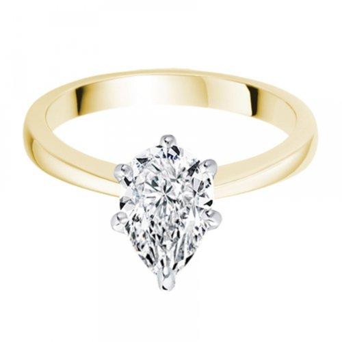Diamond Manufacturers, Damen, Verlobungsring mit 0.25 Karat F/VVS1 feinem und zertifiziertem Tropfendiamant in 18k Gelbgold, Gr. 41 - 4
