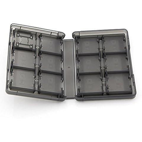 3DS 28en 1tarjeta de juego de plástico caso cartuchos de soporte para caja para NDS Series transparente negro