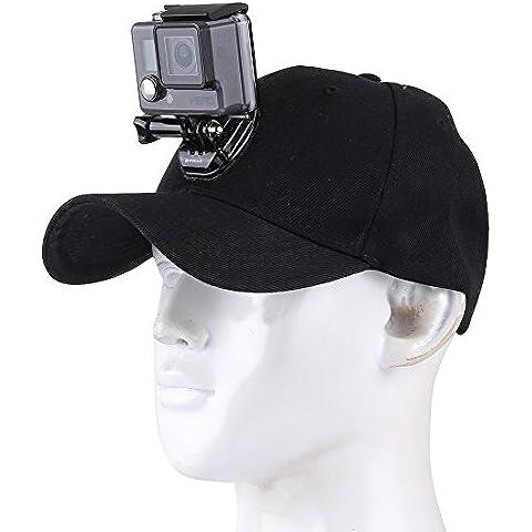 gorra de béisbol para GoPro, Fone-Stuff® - titular de la cámara con el sombrero de la hebilla de liberación rápida de montaje, para GoPro, sjcam y otras cámaras de acción deportiva, ajustable una talla para todos - negro