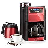 Klarstein Aromatica II Duo - Machine à café avec moulin, Cafetière filtre, 1000 W, Verseuse en verre 1,25L, Thermos 1,25L, Timer, Filtres au charbon actif et permanent, rouge