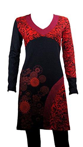 Ausgefallenes Langarm Tunika Kleid mit ethnischen floral Print - V-Ausschnitt - Casual Chic - CHUMA rot (L/XL)