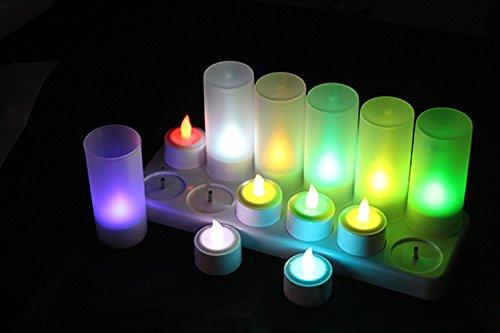 xinban 12velas de té LED Velas, Velas recargables, alimentado por batería sin llama velas, velas, velas de Navidad, velas sin cable con estación de carga, decodificadores pilas incluidas para exterior, Árbol de Navidad, decoración de Navidad, fiesta, boda,