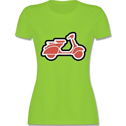 Motorräder - Roller Moped - tailliertes Premium T-Shirt mit Rundhalsausschnitt für Damen Hellgrün