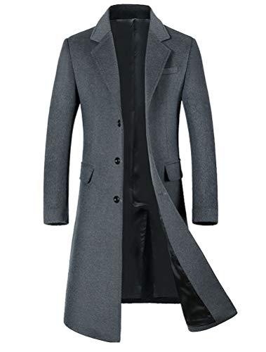 Wolle Barn Mantel (Mordenmiss Herren Langer Slim Peacoat Winter Business Wolle Blazer Gentlemen Trenchcoat - grau - Groß)
