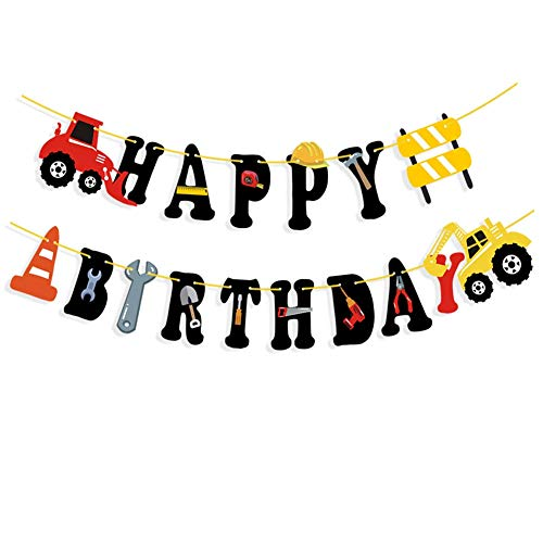 YeLinjn Geburtstagsdekorationen, Geburtstagsbanner, Party-Dekorationen, Happy Birthday, Dekoration, Happy Birthday, Banner, LKW-Girlande, Papier-Banner für Geburtstagsparty (Birthday Lkw-happy)