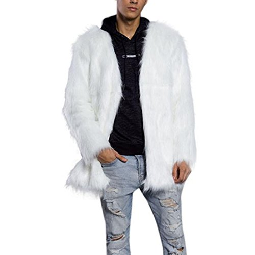 Faux Fox Pelz (Longra Herren Wintermantel Faux Pelz Fox Warm Winterjacke Männer Felljacke Übergangsjacke Lang Mantel Felljacke Parka Outerwear (3XL, White))
