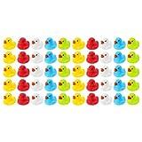 Wellgro 50 paperelle da Bagno (Giallo, Rosso, Bianco, Blu, Verde), Ogni Anatra da quitsche ca. 3,5 x 3 cm (ØxH), Anatra in Gomma, in Rete.