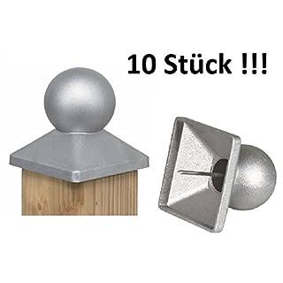 10 STÜCK !! - ALU DRUCKGUSS KUGEL Pfostenkappe mit integriertem Rillennagel (90er Pfosten)