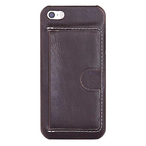 JIALUN-Telefon Fall iPhone 5 5S SE Fall Abdeckung, Einfarbig PU Ledertasche mit U-Design-Kartensteckplatz für iPhone 5 5S SE ( Color : A , Size : IPHONE 5S SE ) C