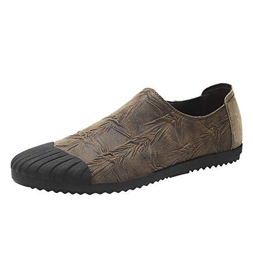 Bequeme Freizeitschuhe für Herren Mode Leder Sneaker Slip on Side Elastic Bands Schuhe Mikrofaser Wandern Training Laufsport Athletisch Geschäftsformale Mokassins ( Color : Khaki , Größe : 42 EU ) -