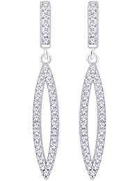 Peora Sterling Silver Rhodium Micro Pave CZ Eleganza Earrings For Women