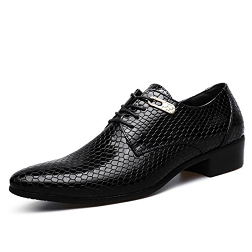 Men's High Quality Snakeskin Leather Patent Formal Shoes Black