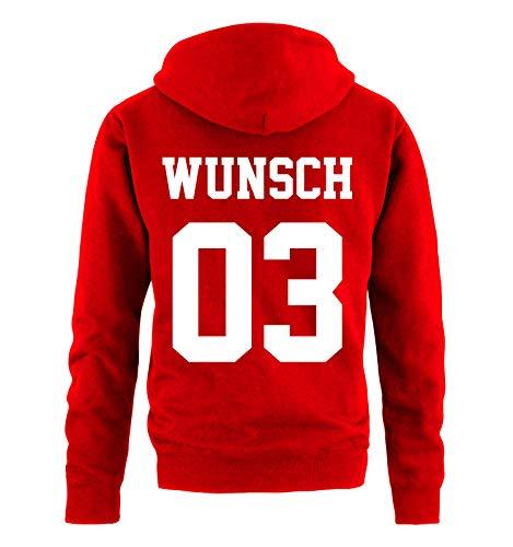 Comedy Shirts - Wunsch - Herren Hoodie - Rot/Weiss - Gr. L -