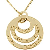 Solid 9ct Yellow Gold Personalised Three Disc Pendant Necklace With Optional Chain In Gift Box
