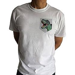 Bolsillo de Dinosaurio Blanco Para Hombre - T-Rex Creature Fashion Print TS990