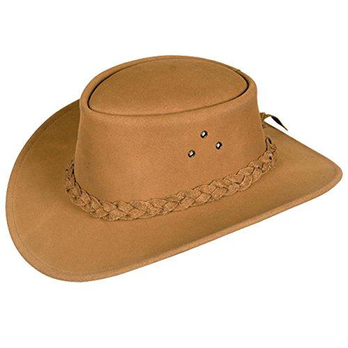 Kakadu Traders Cowboy Kinder Wildleder-Hut in Rostbraun | geflochtenes Hutband mit geschwungener Krempe | ()