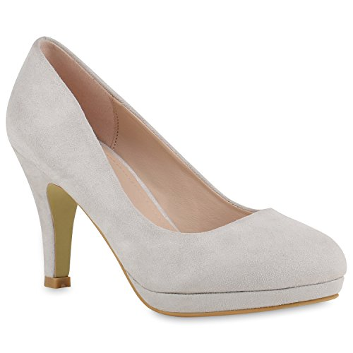 Damen Pumps Plateaupumps Stiletto High Heels Peeptoes Leder-Optik Plateau Vorne Party Schuhe 140987 Hellgrau Bernice 37 Flandell