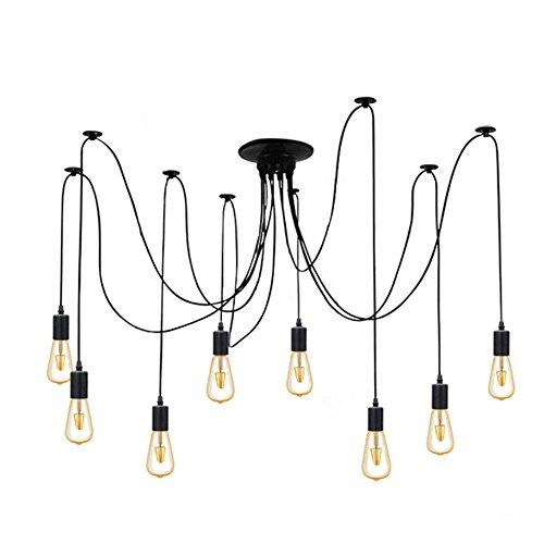8 Branches E27 Douille Lustre Plafond Lampe 1,8 m câble, Rétro Suspensions Luminaire Plafond Lumière éclairage Plafonniers Lustres Luminaire Eclairage de plafond