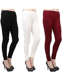 Makeon Fashion Women's Cotton Churidar Leggings Combo (Pack Of 3 Maroon, White, Black)- L, XL, XXL