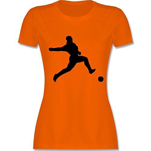 Fußball - Fußball - tailliertes Premium T-Shirt mit Rundhalsausschnitt für Damen Orange