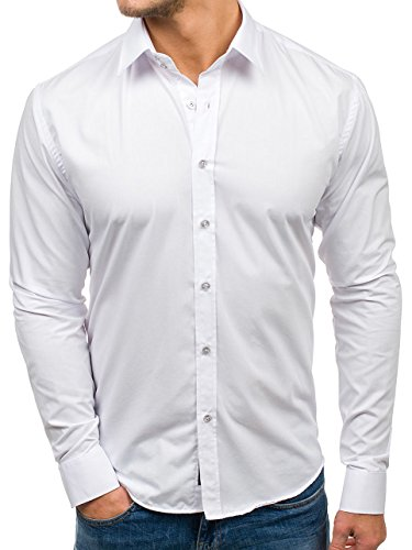 Bolf camicia slim fit – a manica lunga – con coletto francese – elegante - da uomo 6928 bianca xl [2b2]
