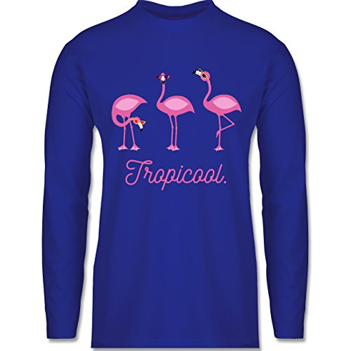 Shirtracer Vögel - Tropicool Flamingo Gang - Herren Langarmshirt Royalblau